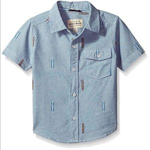 Big Short Sleeve Chambray Button Down Light Blue